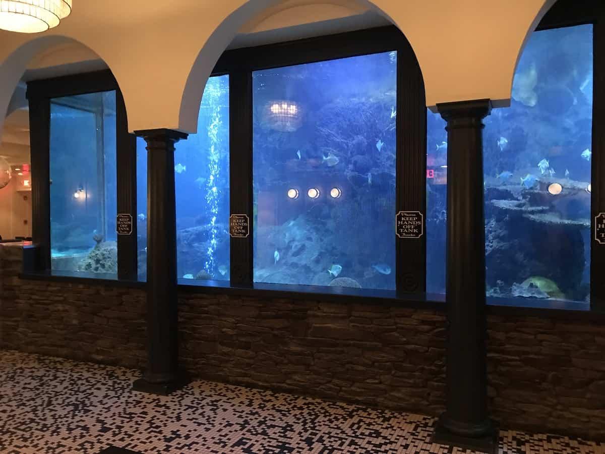 Salt water aquarium in a restaurant.