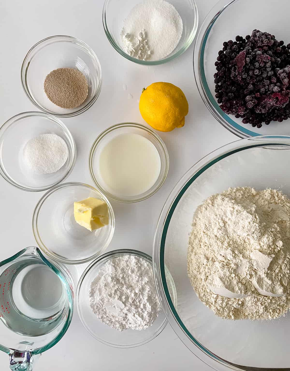 Ingredients for blueberry sweet buns.