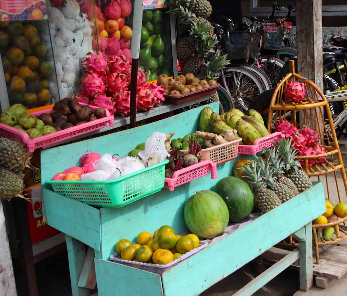 Food market fruit stand in Indonesia.