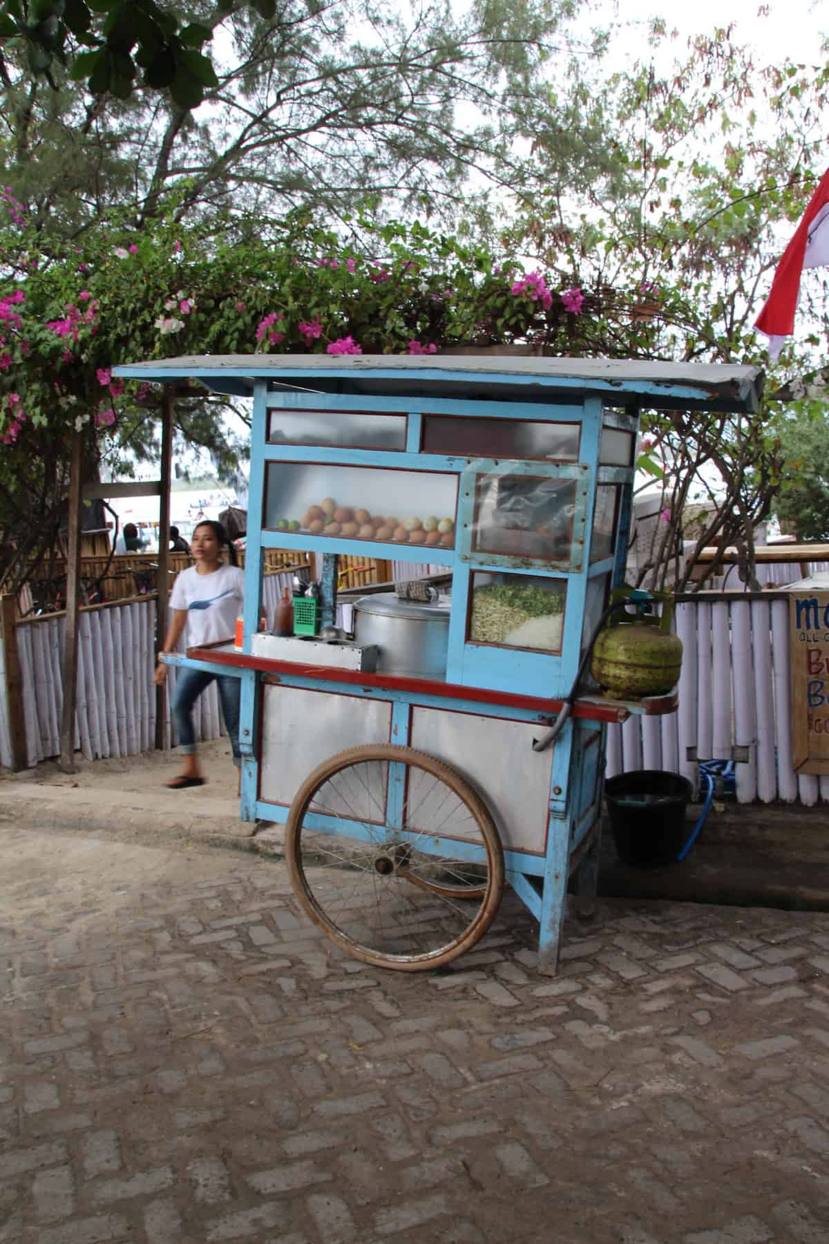 Light blue cart used for street food vendor in Indonesia.