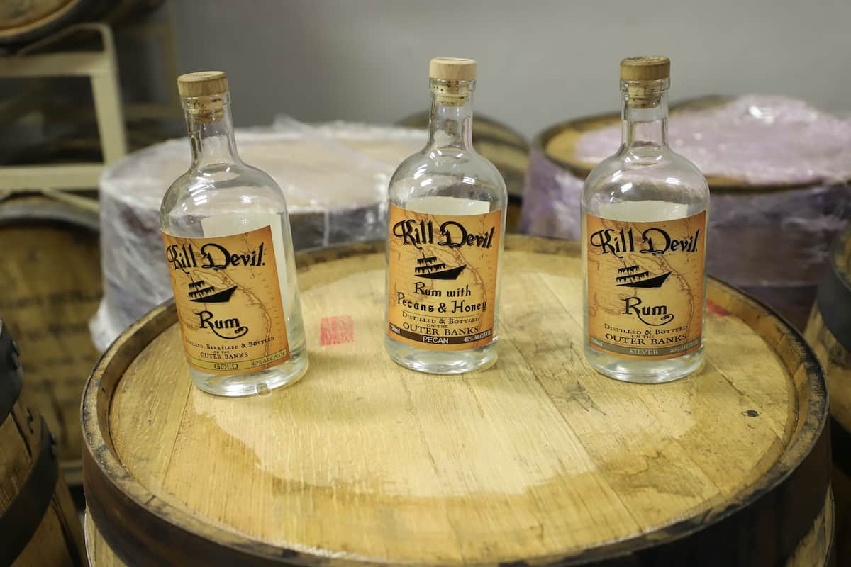 Rum bottles from Outer Banks Distilling.
