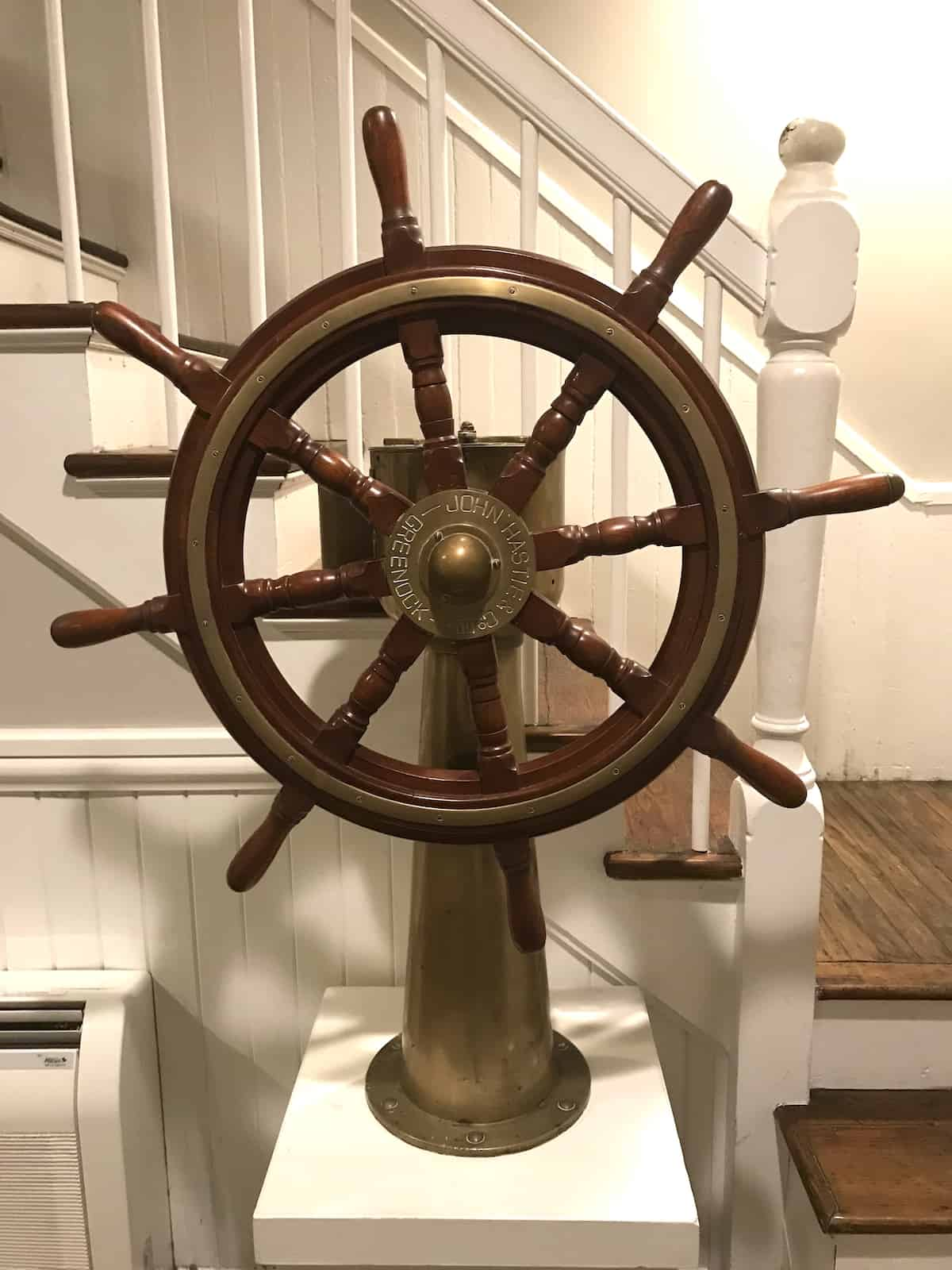 Antique helm or steering wheel from ship.