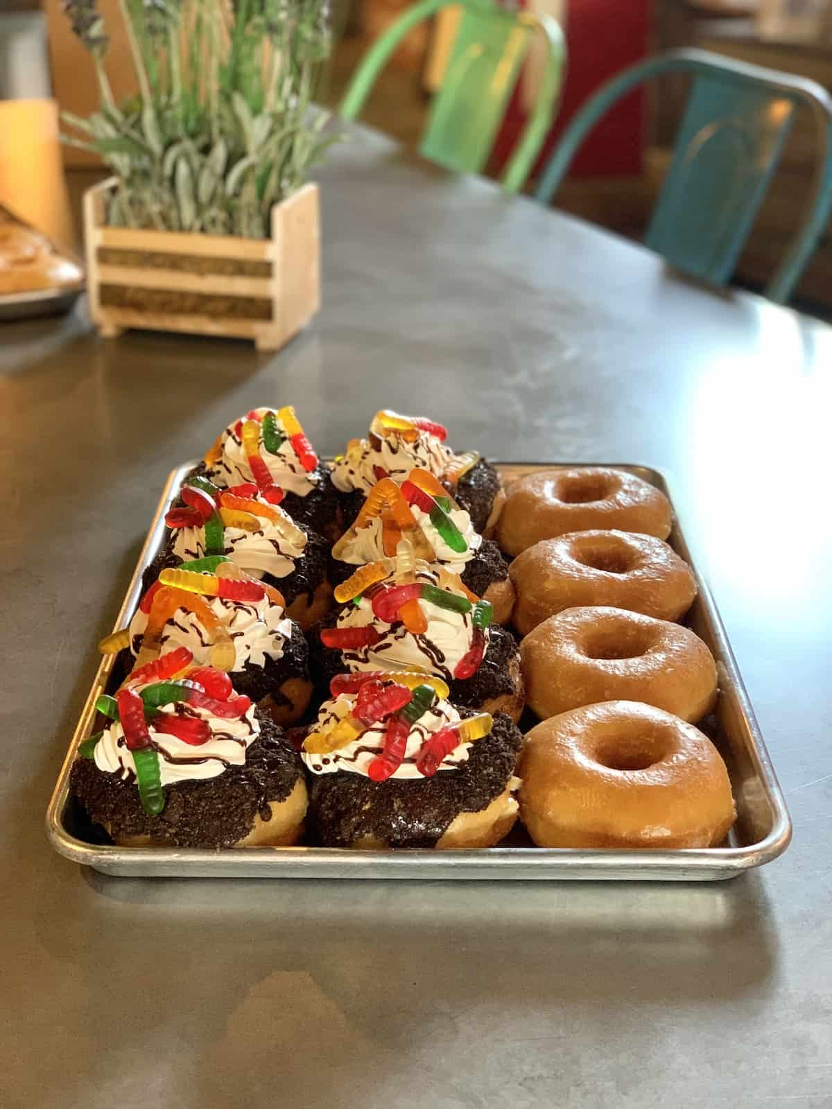 Donuts on a tray.