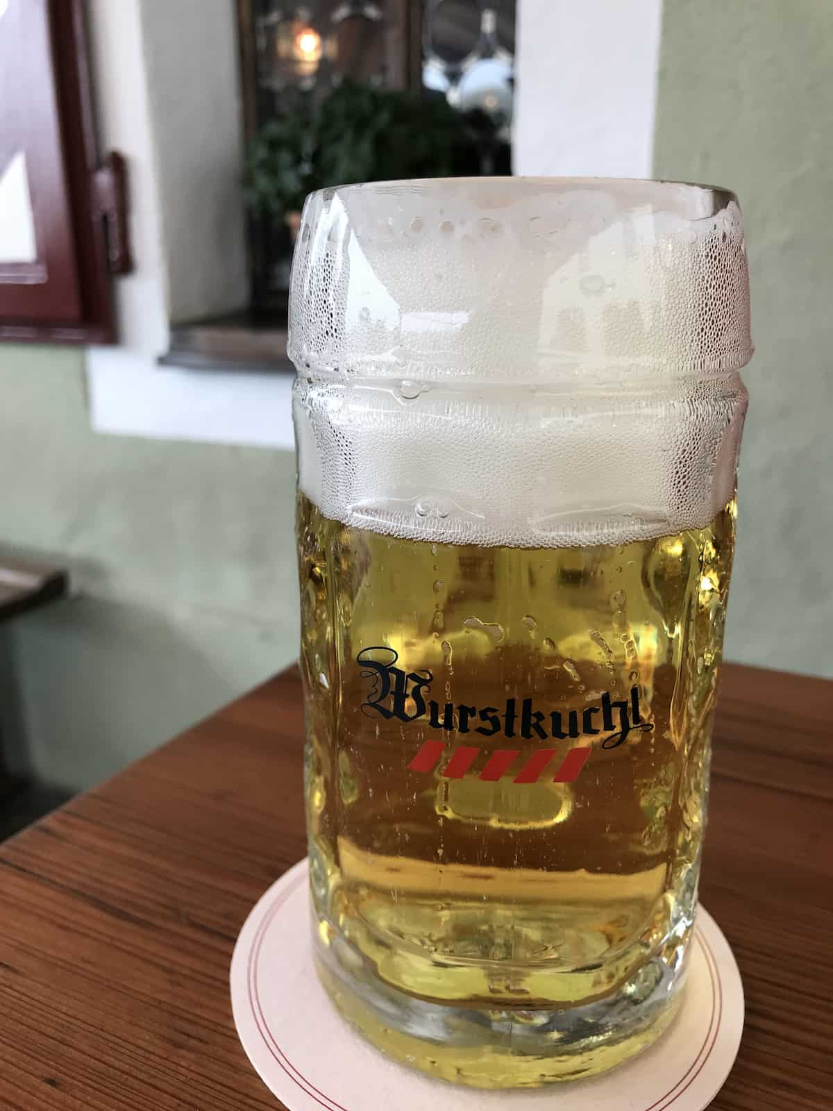 Beer at the Historic Sausage Kitchen in Regensburg Germany.