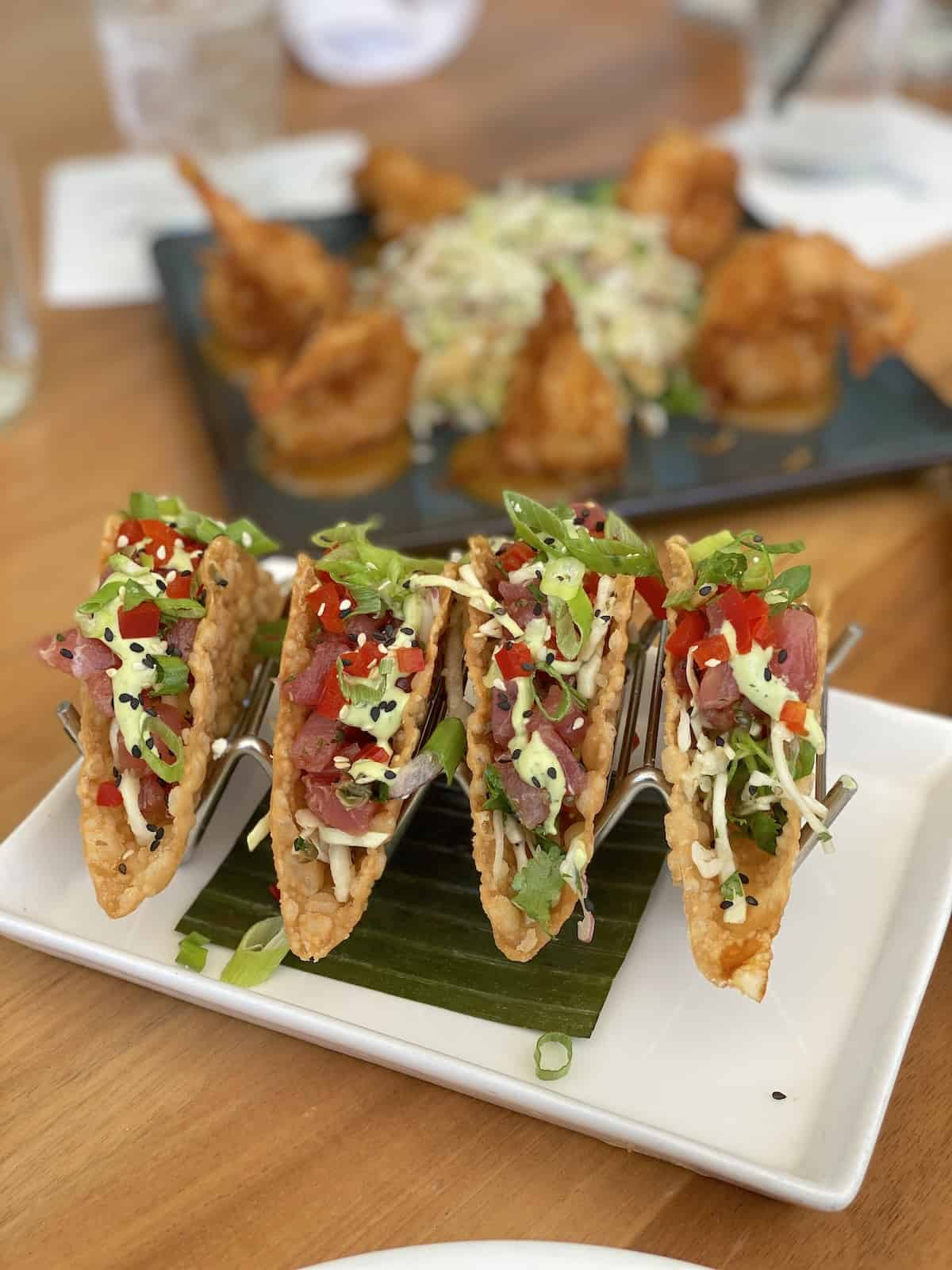 Tuna tacos at Tommy Bahamas restaurant Sarasota.