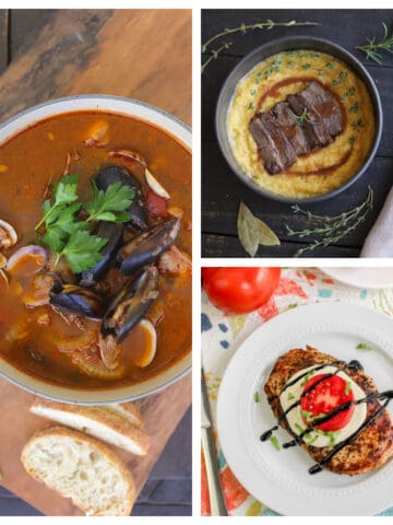 Cioppino, braised beef over polenta, and grilled chicken with tomato and cheese.