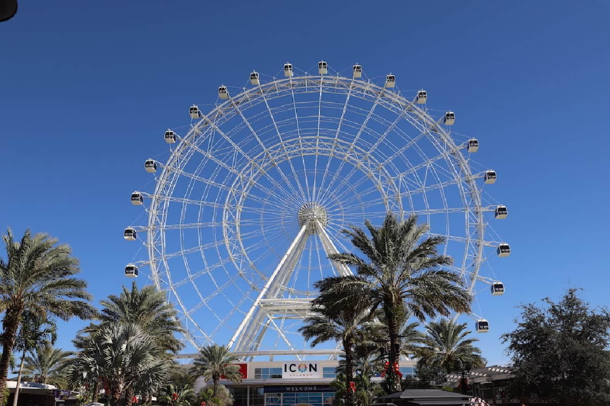 Ferris Wheel against a blue sky.