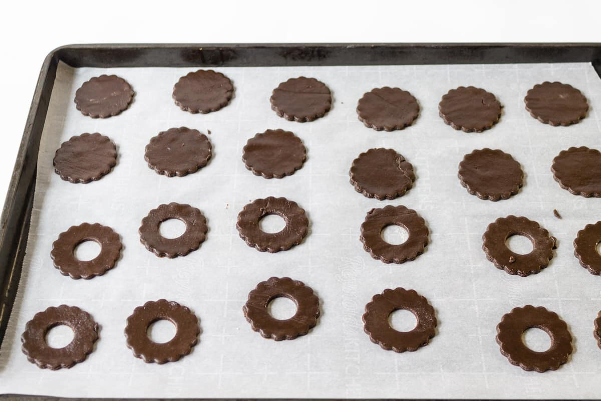 Cookies ready to go into the oven.