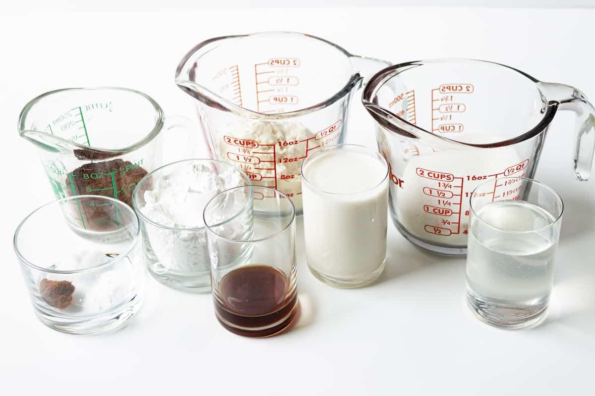 Ingredients for salted caramel cookies.